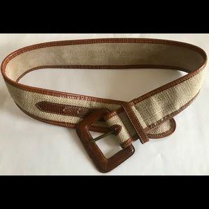 Vintage BR Banana Republic leather and linen belt